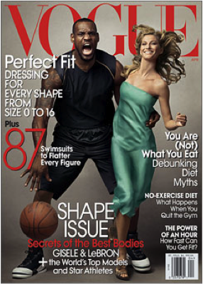 LeBron James and Model Gisele Bundchen on the April 2008 cover of fashion magazine Vogue.