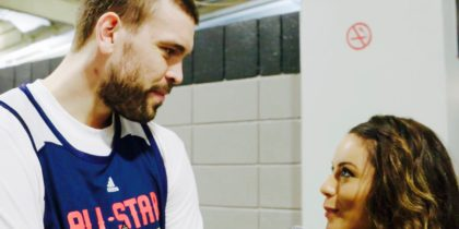 Alexis Morgan with Gasol at All-Star Weekend